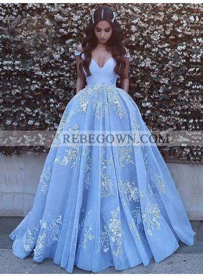 2021 A Line off Shoulder V Neck Bodice Applique Prom Dresses / Ball Gown