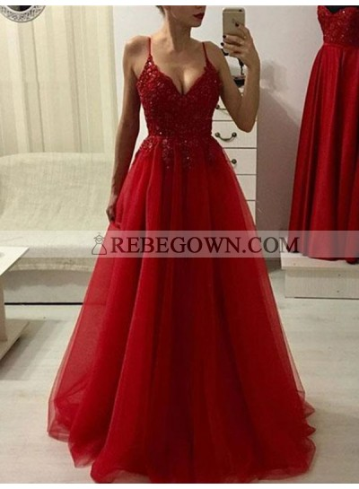 2020 Red Beaded Tulle Spaghetti V Neck Sleepless Prom Dresses