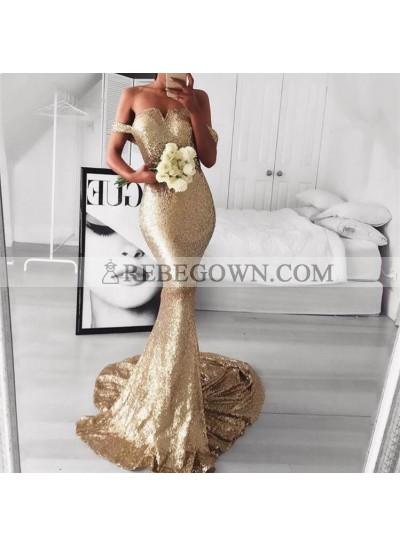 2020 Off Shoulder Sweetheart Mermaid  Sweep Train Backless Prom Dresses