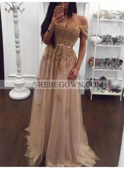 2020 Off shoulder Sweetheart Beads Tulle A-Line Sexy Prom Dresses