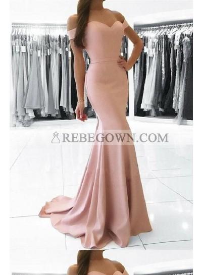 2021 Sweetheart Pink Bodice Mermaid  Off Shoulder Prom Dresses
