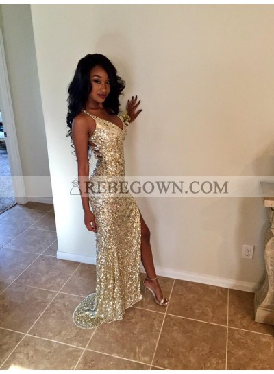 2020 Sequins V Neck Sleeveless Split Front Prom Dresses