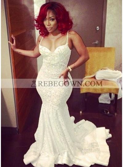 2020 Ivory White Spaghetti Strap Sleeveless Bodice Mermaid  Prom Dresses