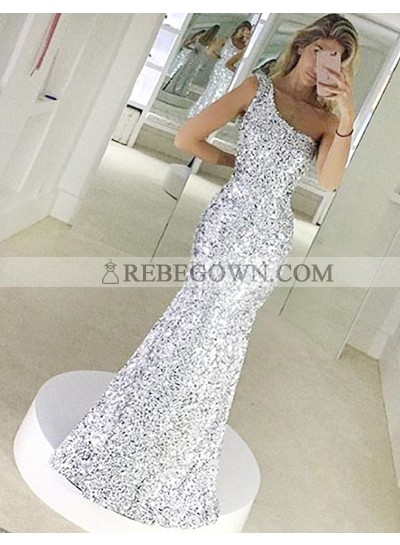 One Shoulder Mermaid  Sequined Shining Sleeveless Silver Elegant Prom Dress