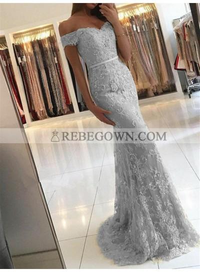 Off Shoulder Lace Mermaid  Sweetheart Cold Shoulder Floor Length Prom Dress