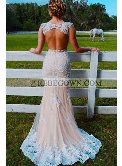 Sweetheart Sheer Lace Mermaid  Backless Beaded Sash Tulle Floor Length Prom Dress
