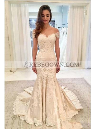 Mermaid  Beige Off Shoulder Applique Bodice Chapel Train Wedding Dresses