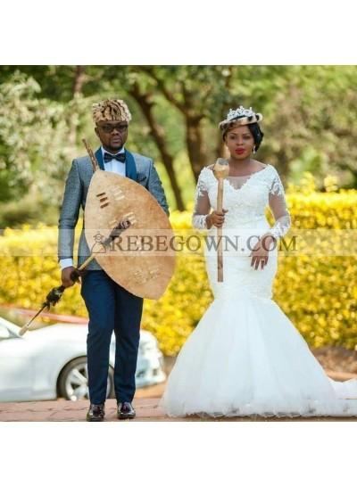 V Neck Mermaid  Long Sleeve Applique Lace Scoop Tulle Wedding Dresses