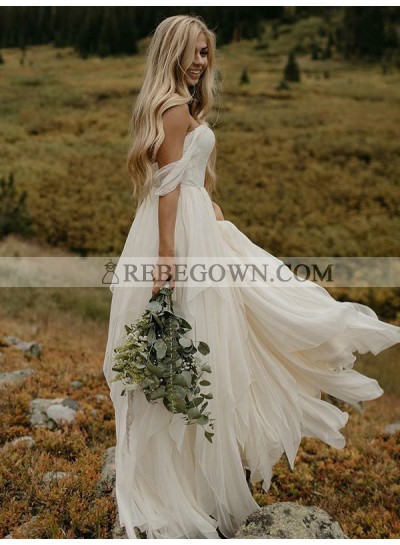 Ruffle Tiers Floor Length Off Shoulder Backless Chiffon Wedding Dresses