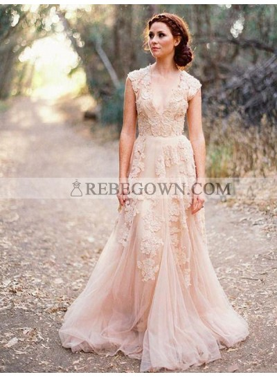 Natural V Neck Tulle Champagne Appliques Sleeveless Elegant Wedding Dresses