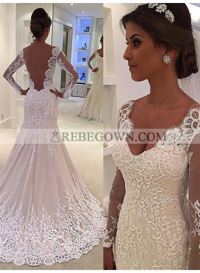 Sheer Long Sleeve Beige V Neck Sweetheart Mermaid  Chapel Train Backless Wedding Dresses