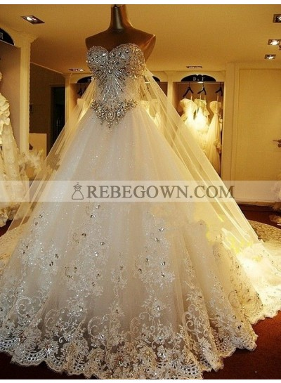 Rhinestone A Line Champagne Sweetheart Sleeveless Backless Applique Wedding Dresses