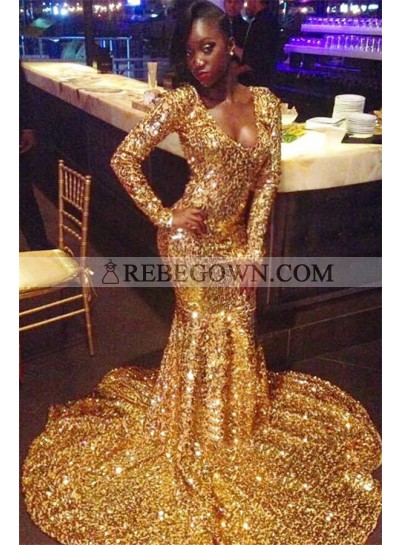 2021 Shining Gold Sequins Long Sleeve Mermaid Scoop Neck Plus Size Prom Dresses