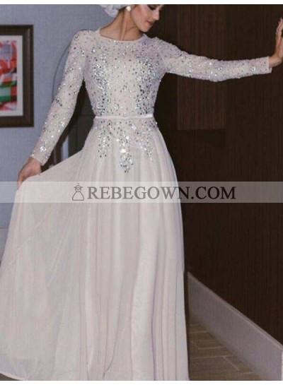 2020 Muslin Style Ivory Jewel Neck Long Sleeve Crystal Beaded Chiffon Prom Dresses
