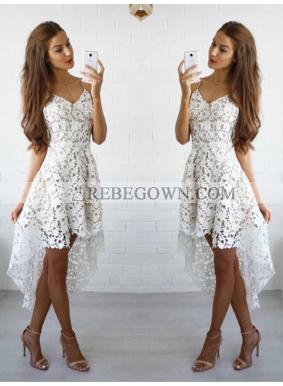 2021 A-Line Spaghetti Straps V Neck Sleeveless Lace High Low Short/Mini Homecoming Dresses