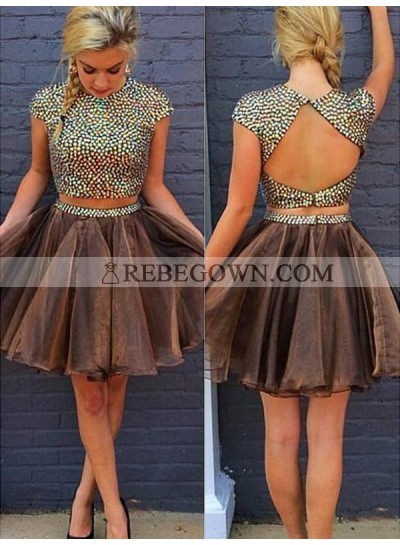 2020 A-Line Two Piece Jewel Neck Short Sleeve Beading Back Cut Out Organza Short/Mini Homecoming Dresses