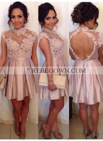 2021 A-Line High Neck Sleeveless Applique Cut Out Pleated Satin Cut Short/Mini Homecoming Dresses