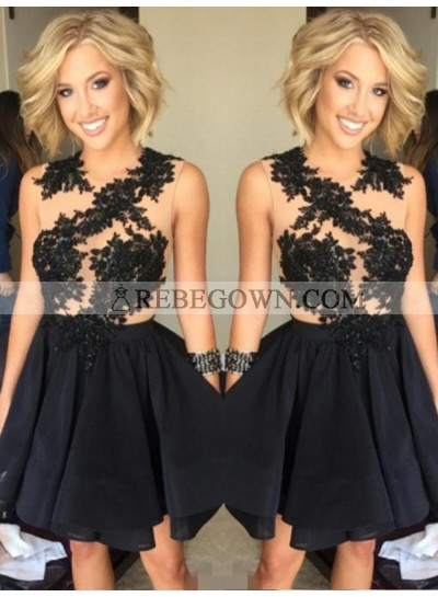 2021 A-Line Jewel Neck Sleeveless Applique Beaded Pleated Layers Cut Short/Mini Homecoming Dresses