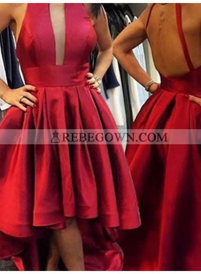 2021 A-Line Pleated Cut Out Satin High Low Homecoming Dresses