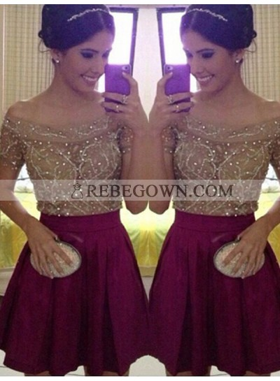 2021 A-Line Off-The-Shoulder Beading Pleated Cut Short/Mini Homecoming Dresses