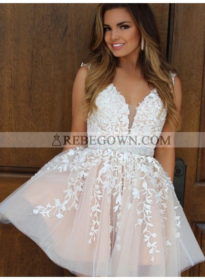 2021 A-Line V Neck Sleeveless Applique Beading Tulle Cut Short/Mini Homecoming Dresses