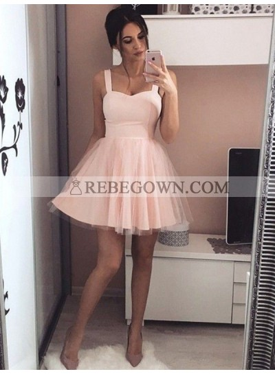 2020 A-Line Sweetheart Straps Sleeveless Tulle Cut Short/Mini Homecoming Dresses