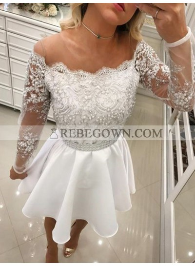2021 A-Line Off-The-Shoulder Long Sleeve Applique Beading Cut Short/Mini Homecoming Dresses
