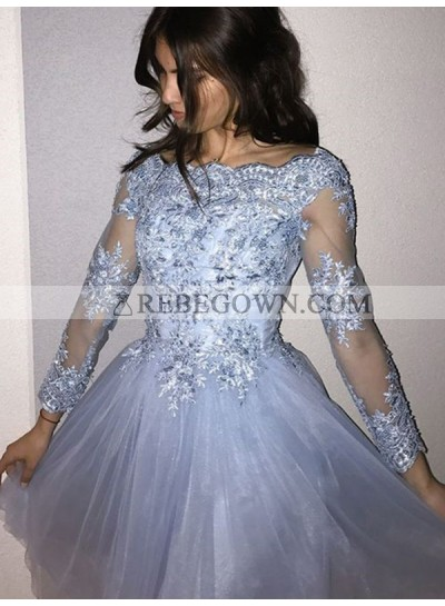 2021 A-Line Bateau Neck Long Sleeve Applique Tulle Cut Short/Mini Homecoming Dresses