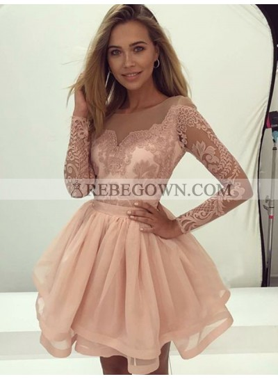 2021 Ball Gown Scoop Neck Long Sleeve Lace Pleated Layers Cut Short/Mini Homecoming Dresses