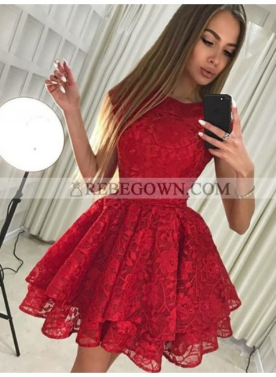 2021 Ball Gown Jewel Neck Sleeveless Layers Lace Cut Short/Mini Homecoming Dresses