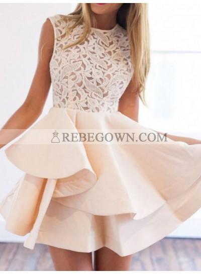 2020 A-Line Jewel Neck Sleeveless Layers Lace Cut Short/Mini Homecoming Dresses