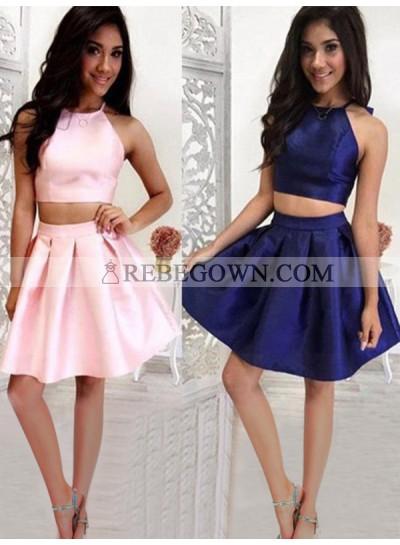 Two Piece Halter Sleeveless Satin Pleated Cut Short/Mini Homecoming Dresses