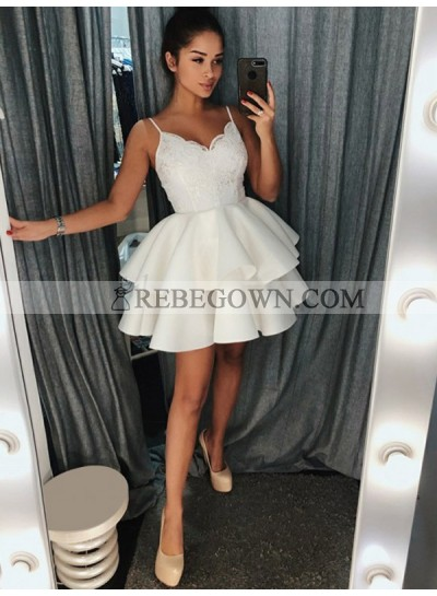White Ball Gown Layers V Neck Sleeveless Straps Lace Cut Shorts Mini Homecoming Dresses