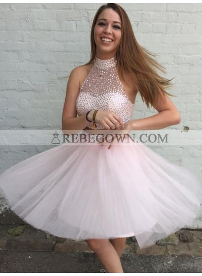 Two Piece High Neck Open Back Beading Pearl Pink Homecoming Dress