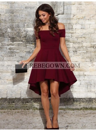 High Low Satin Off-The-Shoulder A-Line Homecoming Dresses