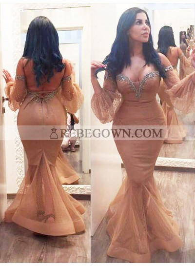 2020 Mermaid Prom Dresses Satin Champagne Off The Shoulder Sweetheart Long Puff Sleeve Backless