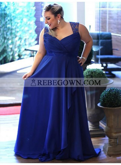 2020 V-neck Prom Dresses Royal-Blue Chiffon Ruched Sheer Straps Appliques Ruffles
