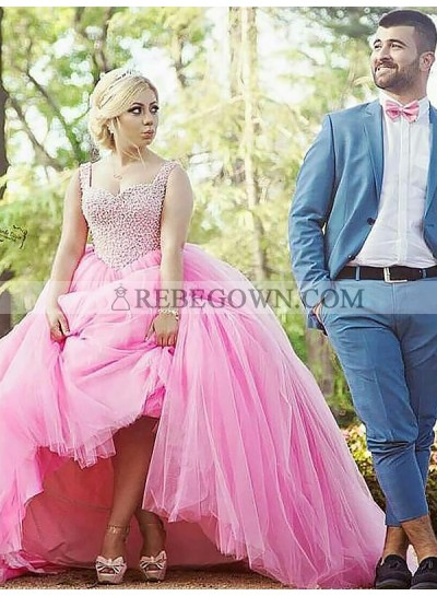 2020 Prom Dresses Sleeveless Sweetheart Beading Empire Tulle Ball Gown Pink Pleated