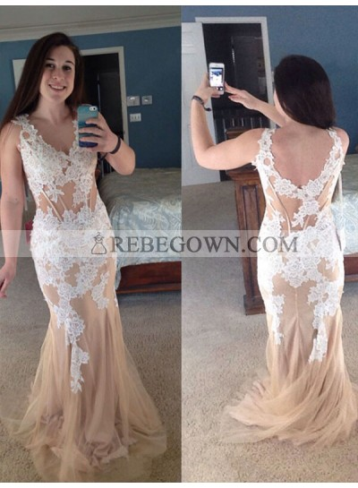 2020 Backless Prom Dresses V-Neck Lace Mermaid Champagne Sleeveless Appliques Tulle Sheer Flowers