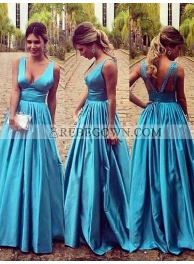 2020 Prom Dresses Regular Straps Deep V-Neck Backless Satin Blue Cut Out Pleated
