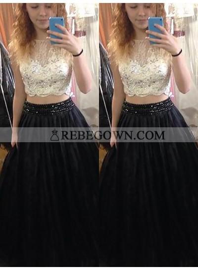 2020 Two Pieces Prom Dresses Jewel Satin Rhinestone Lace Sleeveless Sheer