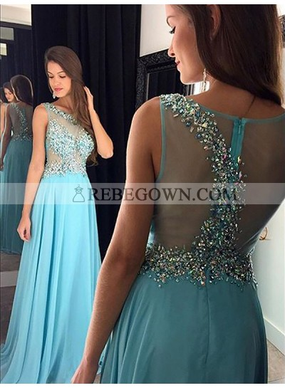 2020 Scoop Prom Dresses Sheer Back Rhinestone Chiffon See Through A-Line Blue Sparkle Sleeveless