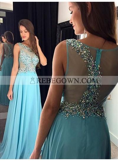 2020 Scoop Prom Dresses Sheer Back Rhinestone Chiffon See Through A-Line Blue Sparkle Sleeveless