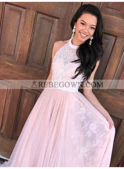 2020 Halter Prom Dresses Lace Flowers Pleated A-Line Pink Sheer Floor Length Exquisite