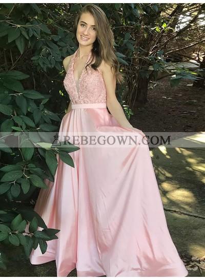 2020 Halter Prom Dresses Pink Deep V-Neck Lace Appliques Satin A-Line Sheer