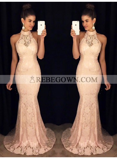 2020 Prom Dresses Elegant Halter Lace Mermaid Pink Sexy Sheer Floor Length