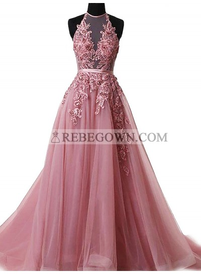 2020 Tulle Prom Dresses Pink Appliques Halter Sheer Pleated Floral Floor Length