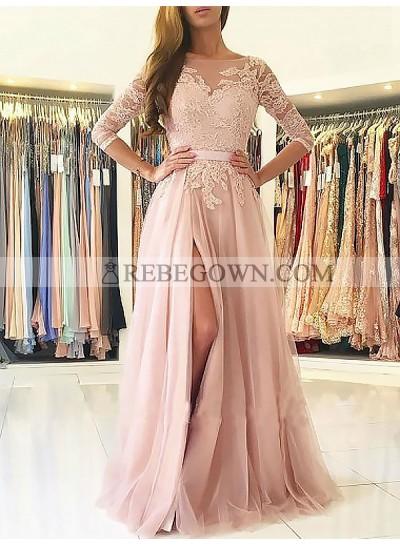 2020 Side Split Prom Dresses Bateau Appliques 3/4 Sleeve Sheer Tulle Pink Pleated