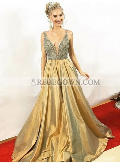 2020 Deep V-Neck Prom Dresses Sleeveless Satin Gold Sequins Sheer Pleated A-Line