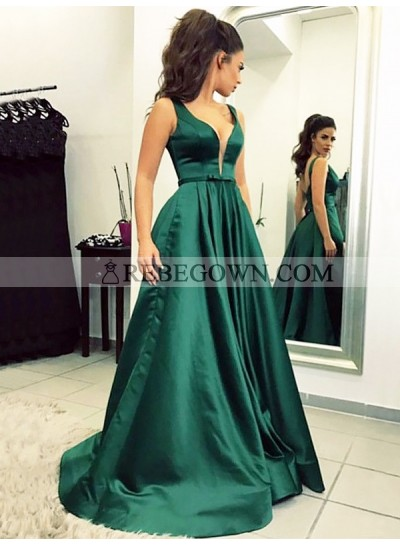 2020 Prom Dresses Hunter Deep V-Neck Sheer A-Line Pleated Satin Sleeveless Backless Bowknot
